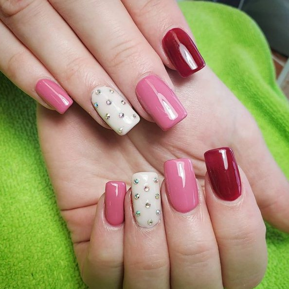 Pink acrylic nails for children