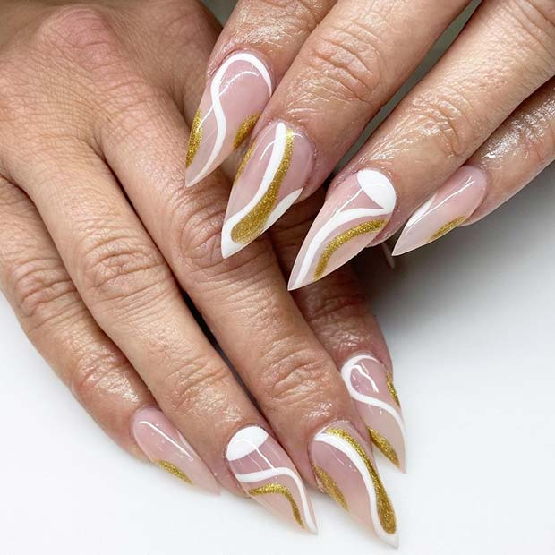 White and Gold Swirl Nails