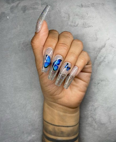 Colored butterfly nails