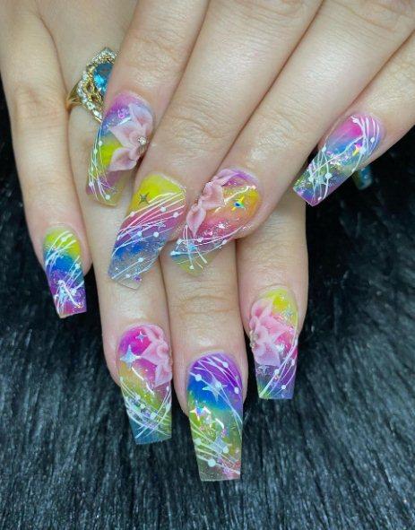 Rainbow Stars Nails