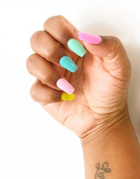 Watercolor rainbow effect nails