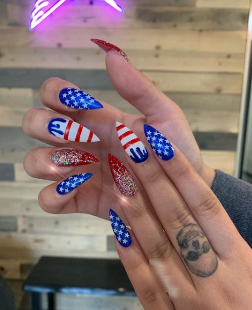 4th of July Nails French tip