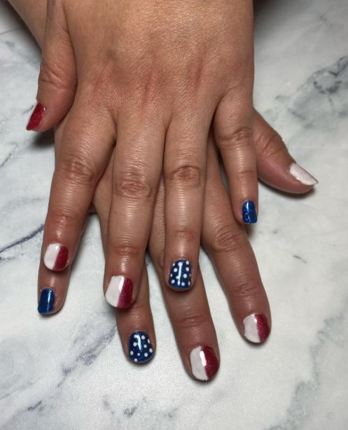 American flag French nail design