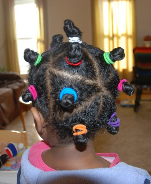 Bantu knot with straight hair