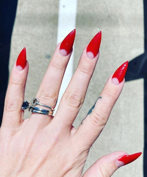 Short Red Acrylic Nails
