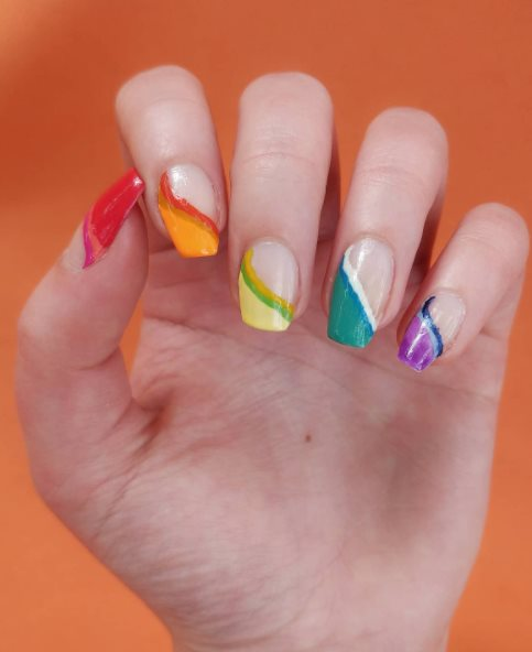 Bisexual Flag Gradient Nails