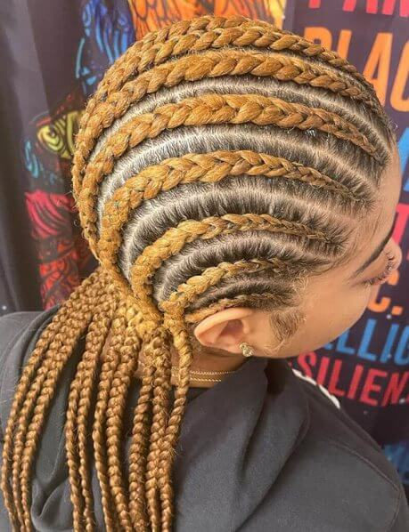 Braid cornrows with extensions