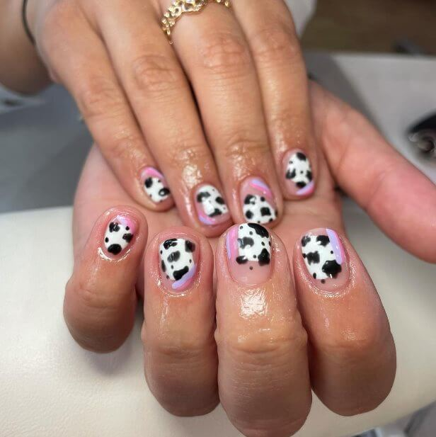 Cow Print All Over Nail Ideas