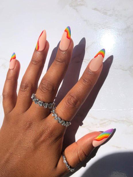 Cute Pride rainbow nails