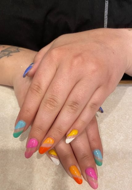 Negative Space Rainbow Nails
