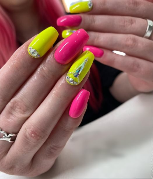 Neon Nails with With Rhinestones
