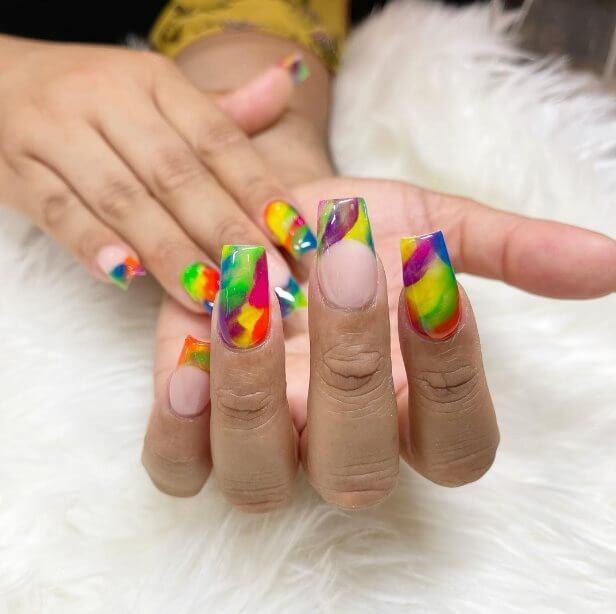 Rainbow Tips Nail