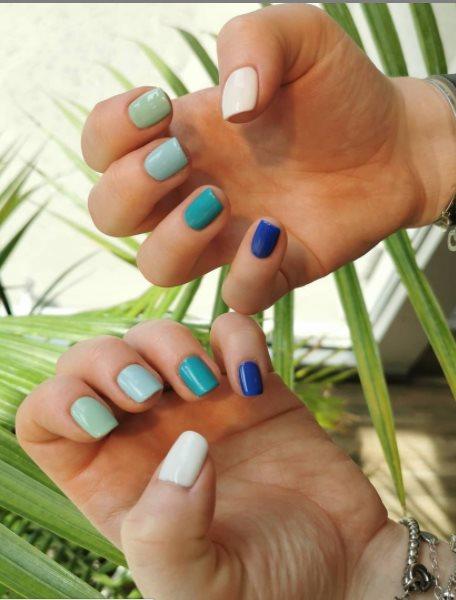 white blue nail polish