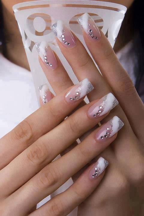 French manicure with rhinestones