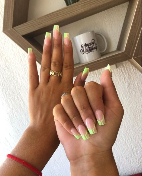 Green french tip nails coffin