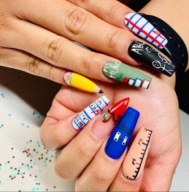 Back to school acrylic nails