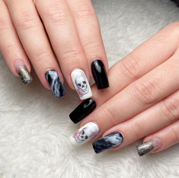 Scary Black Halloween Acrylic Nails