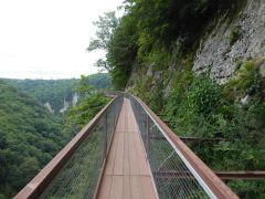 Wooden trail Okatse Canyon