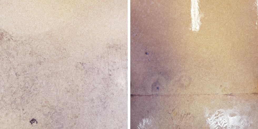 Gulvbelegget før gulvbehandlingen med Twister systemet
