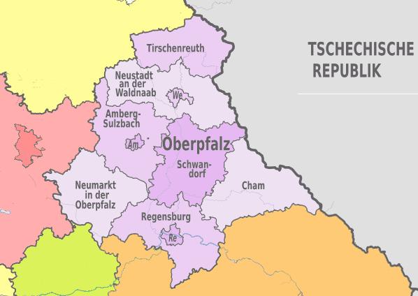 Karte der Bezirks Oberpfalz in Bayern mit den kreisfreien Städten Regensburg, Amberg und Weiden sowie den Landkreisen Regensburg, Neumarkt in der Oberpfalz, Amberg-Sulzbach, Schwandorf, Cham. Neustadt an der Waldnaab und Tirschenreuth.