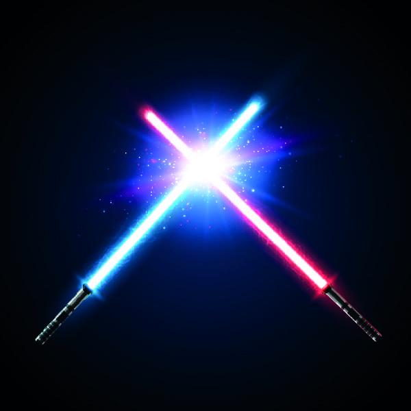 Ein blaues und ein rotes Lichtschwert, die sich kreuzen.
