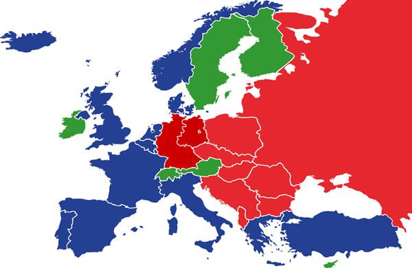 """Karte von Europa in der Alternativwelt von """"Die Mauer steht am Rhein"""""""