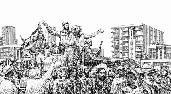 Illustration des Einzugs von Castro und seiner Armee in Havanna