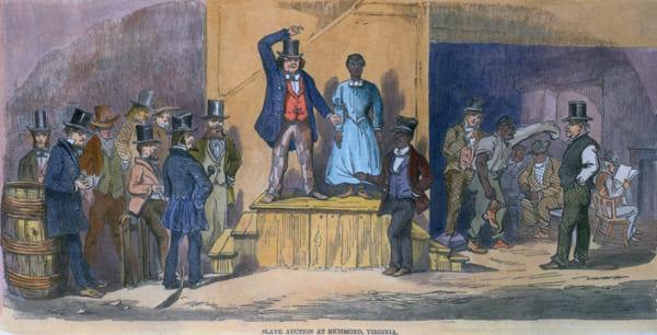 Gravur eines Sklavenmarktes von 1856