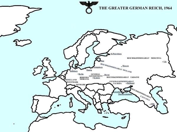 Karte der Alternativwelt im Roman Vaterland