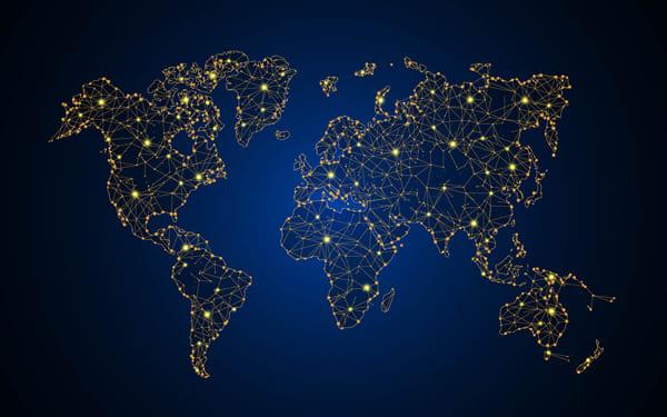 Karte der Welt mit einzelnen Lichtpunkten