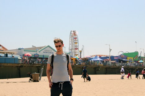 In front of the famous Santa Monica Pier