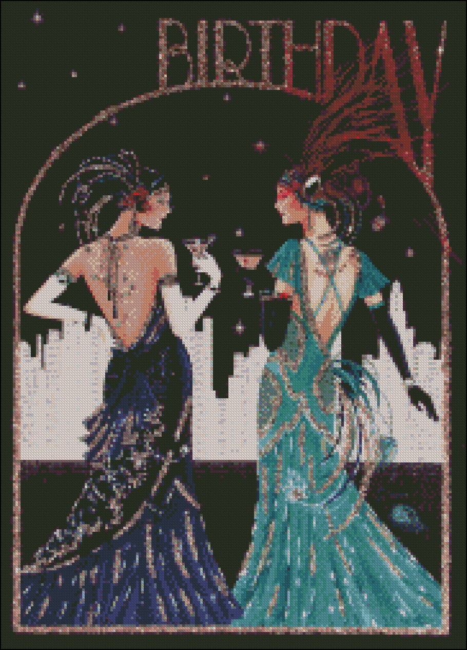 Chart Counted Cross Stitch Patterns Needlework Embroidery Art Deco Lady 2-20