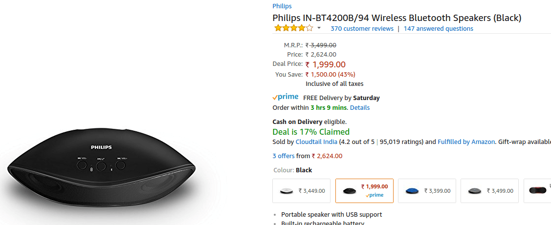 Philips IN-BT4200B/94 - Bluetooth Speaker Deals - Amazon Great Indian Festival 2017