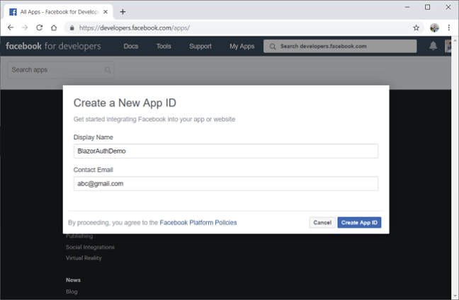 Facebook Authentication And Authorization In Server-Side Blazor App