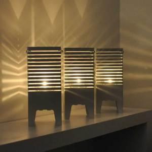 Lampa anpassad för både el och värmeljus. Horisont, ljuslykta, värmeljus, el, aluminium