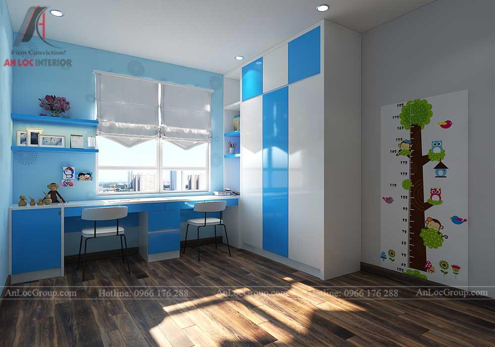 Thiết kế nội thất phòng ngủ trẻ em chung cư vinhomes green bay 1
