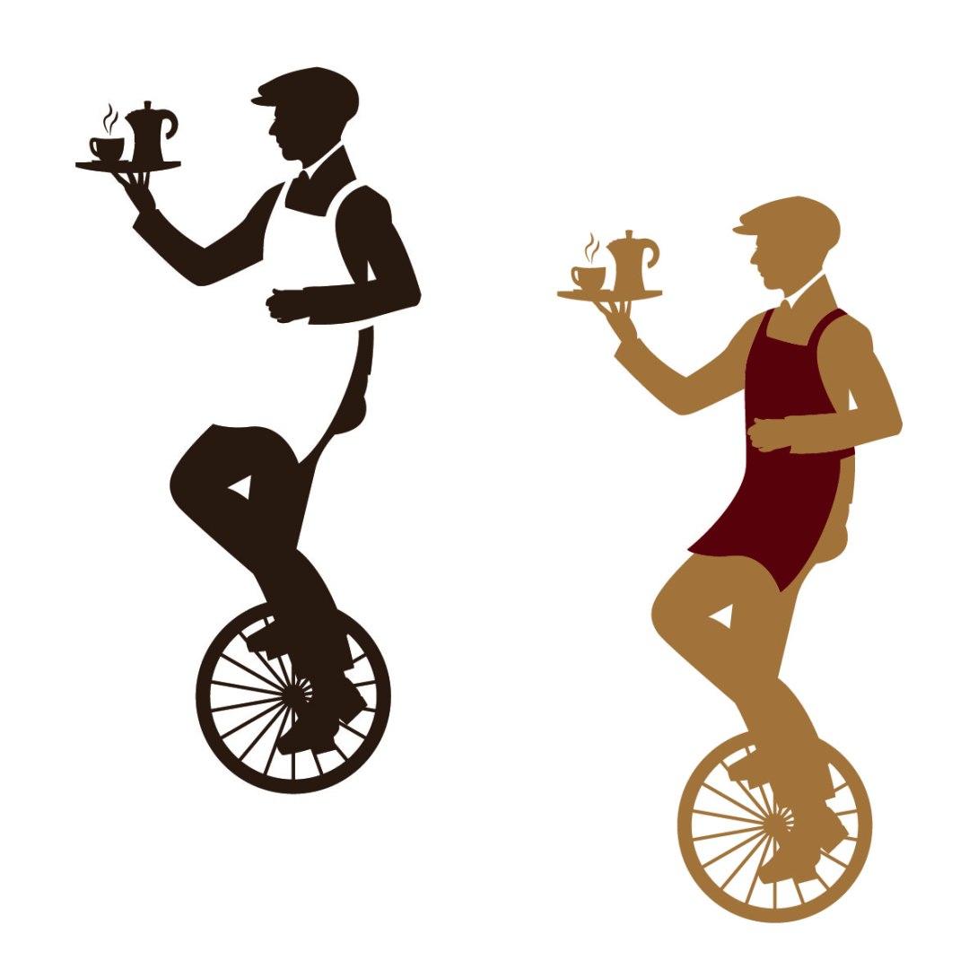 Key Visual für das espressoBike: Einradfahrer