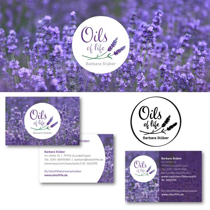 Visitenkarten, Stempel und Social Media Banner für Oils of life