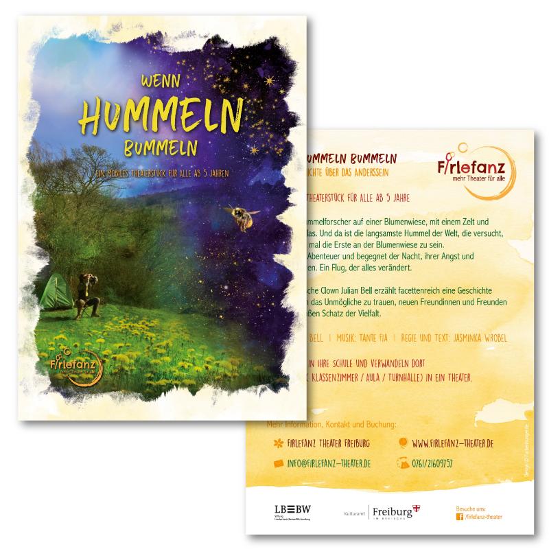 """Postkarte für das Kindertheaterstück """"Wenn Hummeln bummeln"""""""