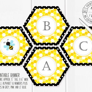 Printable Bumble Bee Honeycomb Banner
