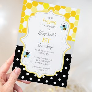 Printable Bumble Bee Honeycomb & Dots Invitation- Birthday