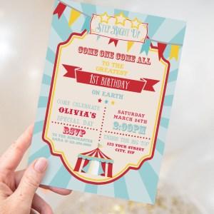 Printable Circus/Carnival Invitation- Blue
