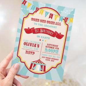 Printable Dark Red Circus/Carnival Invitation- Blue Sunburst