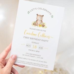 Printable Honey Bear Birthday Invitation