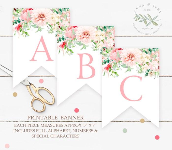 Printable Pink Floral Banner