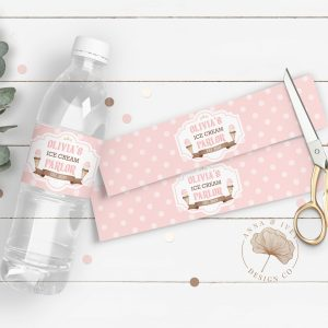 Printable Ice Cream Party Drink Labels- Polka Dots