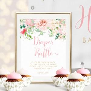 Printable Pink Floral Diaper Raffle Sign