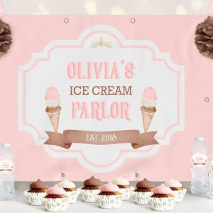 Ice Cream Backdrop- Solid Pink- 4 x 6
