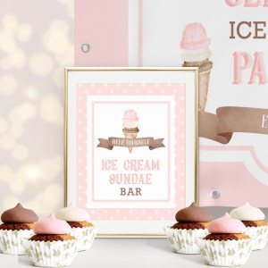 Printable Ice Cream Party Sign- Dots