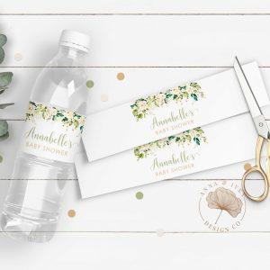 Printable White Floral Drink Labels